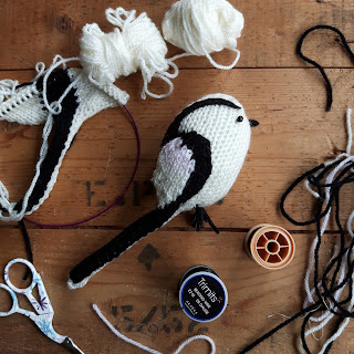 Long tailed tit bird knitting pattern Nicky Fijalkowska