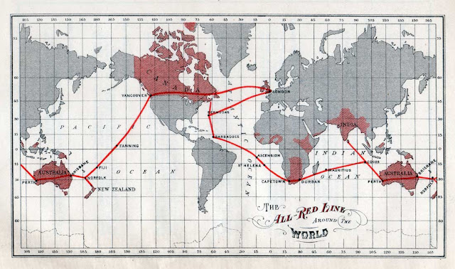 Image Attribute: 1902 British All Red Line map, from Johnson's The All Red Line – The Annals and Aims of the Pacific Cable Project (1903). / Source: Wikimedia Commons