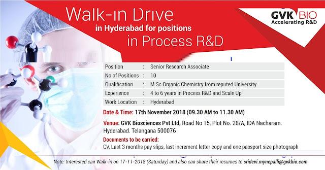 GVK Biosciences Pvt. Ltd Walk In Drive at 17 November
