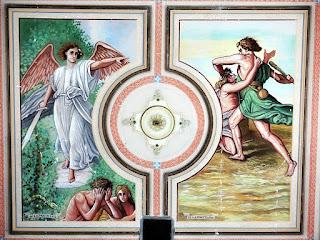 Pinturas no teto da Igreja Santíssima Trindade, em Nova Palma (RS). Expulsão do Paraíso. Caim e Abel.