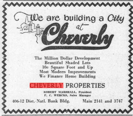 newspaper clipping showing ad for Cheverly 1926