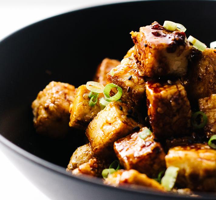 Crispy Oven Baked Honey Garlic Tofu