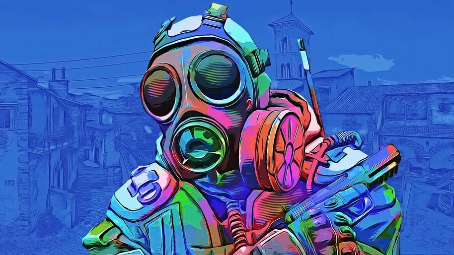 CS:GO, Counter Terrorist, Gas Mask, Colorful, 4K, #4.3197