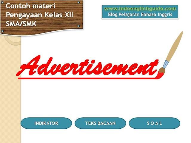 Contoh Soal Reading Comprehension Berbentuk Teks 'Advertisement'