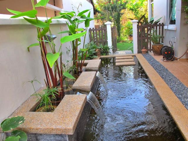 kolam ikan minimalis modern di lahan sempit