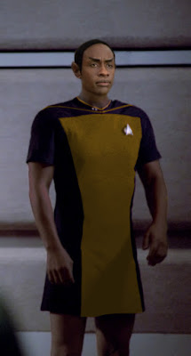 Tuvok wearing TNG skant uniform