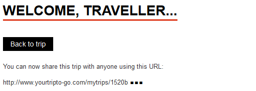 You get a unique code so you can share your trip