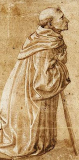 Fra carnavale, kneeling monk, medieval art, time travel, fiction