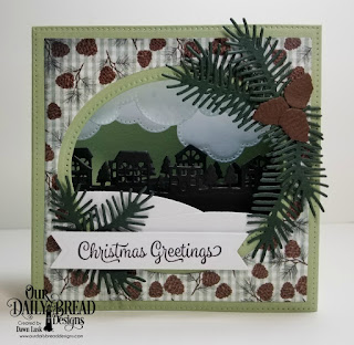 Our Daily Bread Designs Stamp Set: Christmas Card Verses, Custom Dies: Diorama with Layers, Neighborhood Border, Cloud Border, Fancy Foliage, Pine Branches, Curvy Slopes, Paper Collection: Christmas 2017