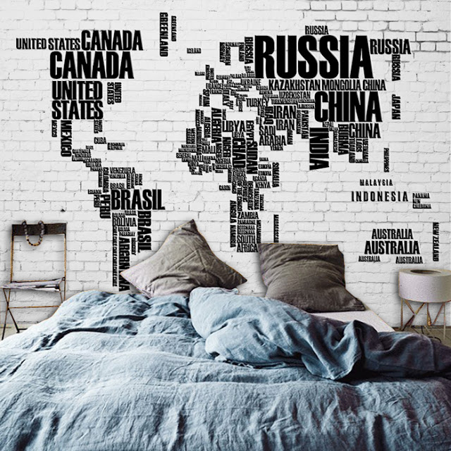 World Map Wall Mural Wall Wallpaper Countries Names Brick Wall