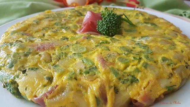 Tortilla con bimi y jamón