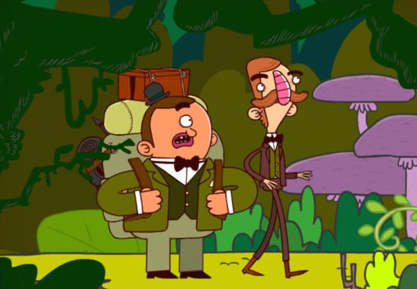 Betram y Gavin en un paisaje tropical.