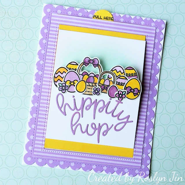 Sunny Studio Stamps: Chubby Bunny Loopy Letters Sliding Window Customer Card Share by Roslyn Jin