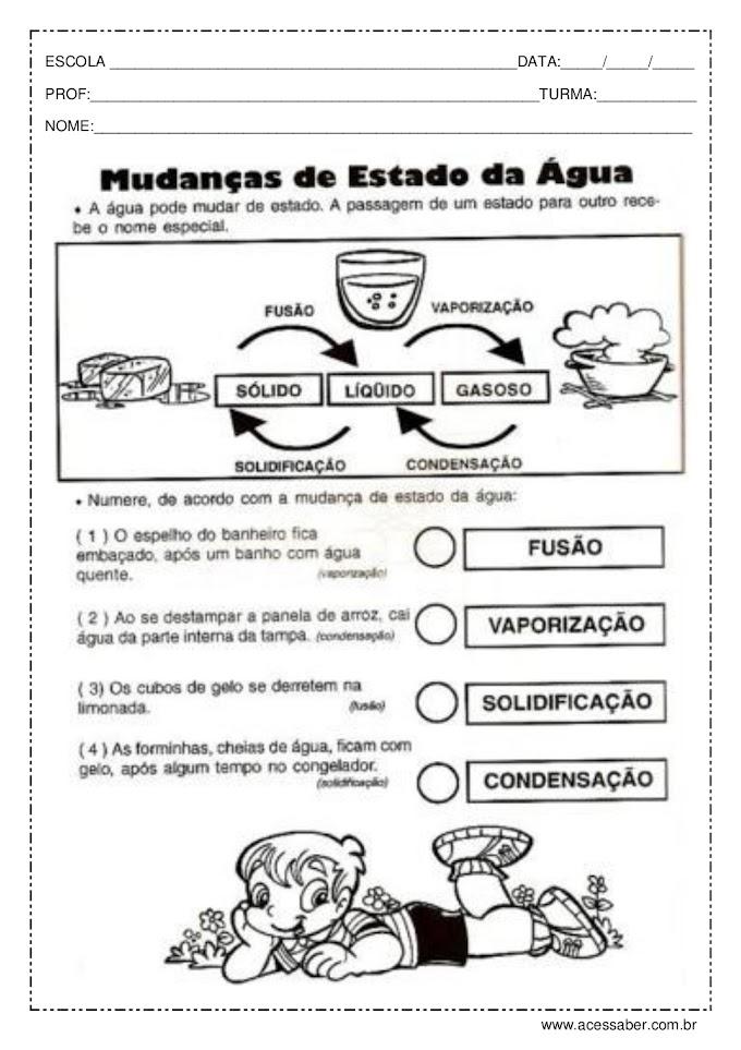 EXERCÍCIOS ESTADOS FÍSICOS DA ÁGUA.