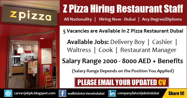 Delivery Boy, Cashier, Waitress, Cook & Restaurant Manager Jobs in Dubai