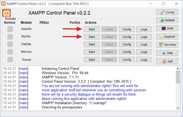 Mengaktifkan module Apache dan MySQL di XAMPP Control Panel
