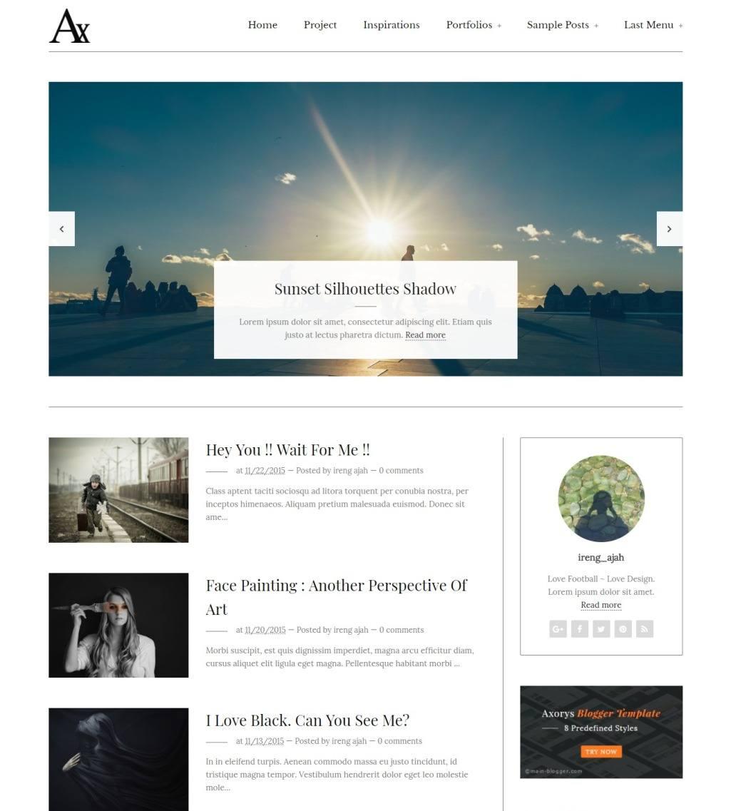 Axorys free Blogger Template minimalist design