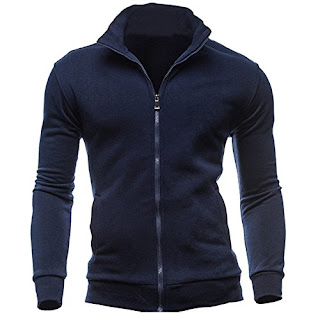 d4253ab1b937b Mysky Fashion Men Leisure Stand Collar Zipper Sweatshirts Sports Jacket Men  Brief Solid Color Coat ...