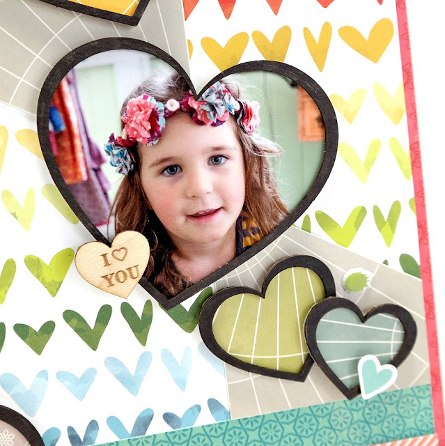 Chipboard Heart Photo Frame on a Rainbow Heart Scrapbook Layout by Dana Tatar