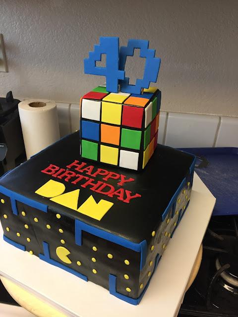 rubik cube pac man cake