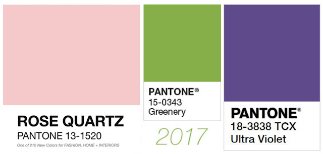 Pantone Colors Rose Quartz, Greenery, Ultra Violet
