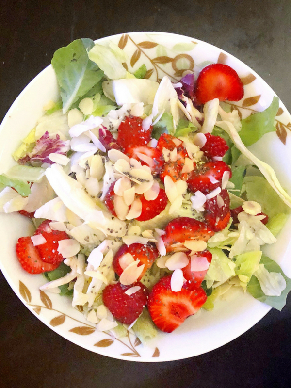 Strawberry Green Salad with Chia Dressing: This delicious Strawberry Green Salad is quick and easy to make and full of great fresh flavors, and tossed with a simple, sweet chia dressing - Ioanna's Notebook
