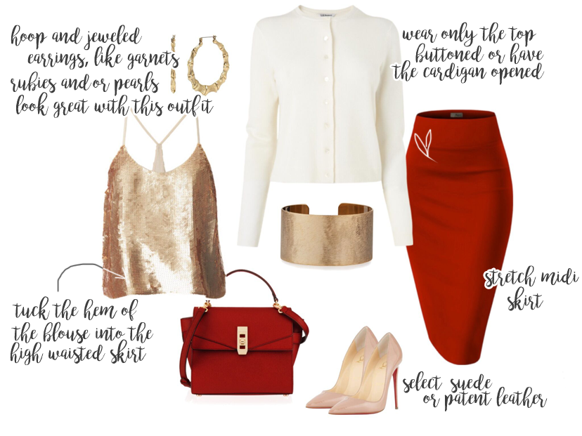 This look is inspired for the holidays, featuring red, gold and ivory.