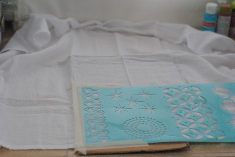 stamped stenciled tea towel kitchen towel tutorial