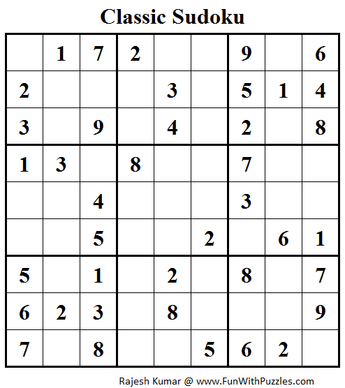 Classic Sudoku (Fun With Sudoku #98)