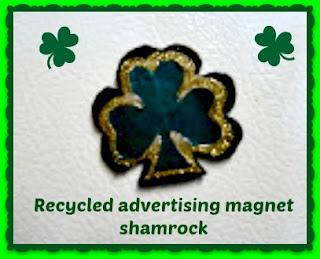 Recycled advertising magnet shamrock