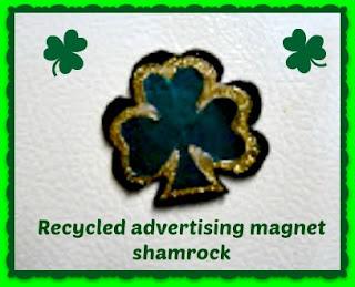 Recycled advertising magnet shamrock