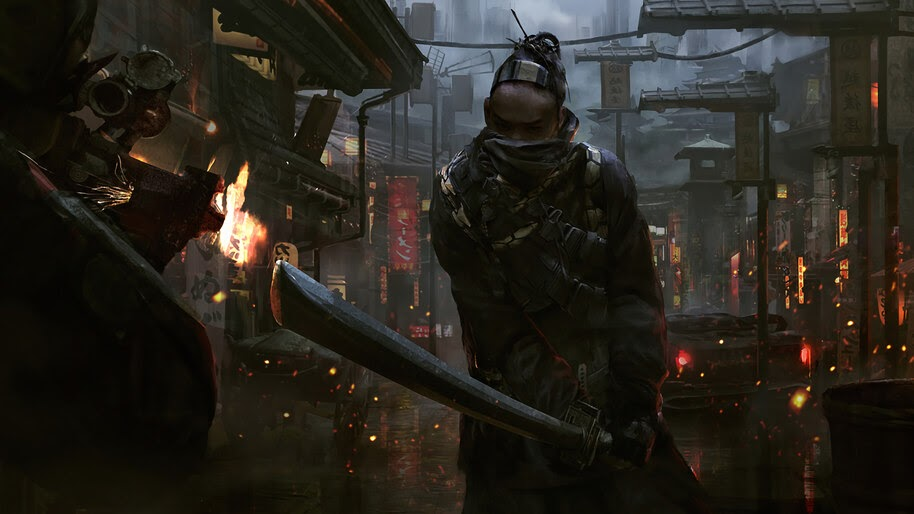 Samurai, Cyberpunk, Sci-Fi, Warrior, 4K, #4.1024