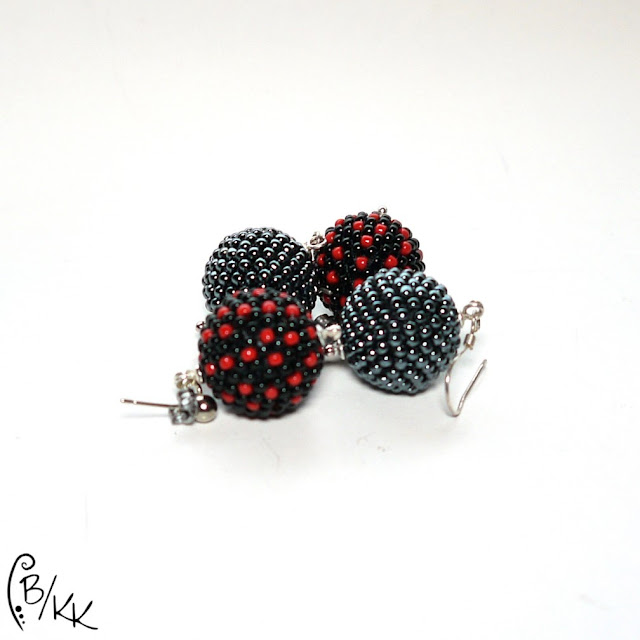 kolczyki kulki peyote | peyote beaded balls earrings