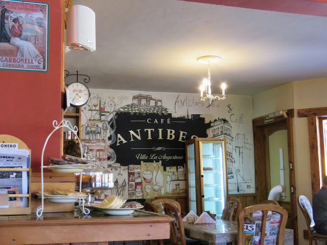 Day trip from Bariloche: Interior of Cafe Antibes in Villa La Angostura along the Ruta de Siete Lagos
