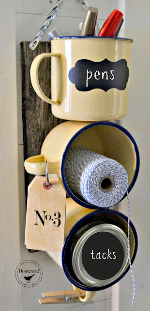 Yellow enamelware mugs with chalkboard tags