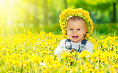 Anglebaby-In-Yellow-Flowers-photos
