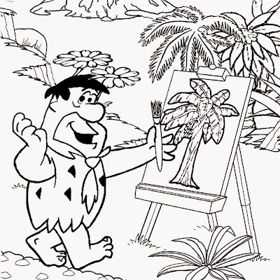 Stone Age man scene Fred Flintstone drawing a picture comic strip colouring pages for teenage girls