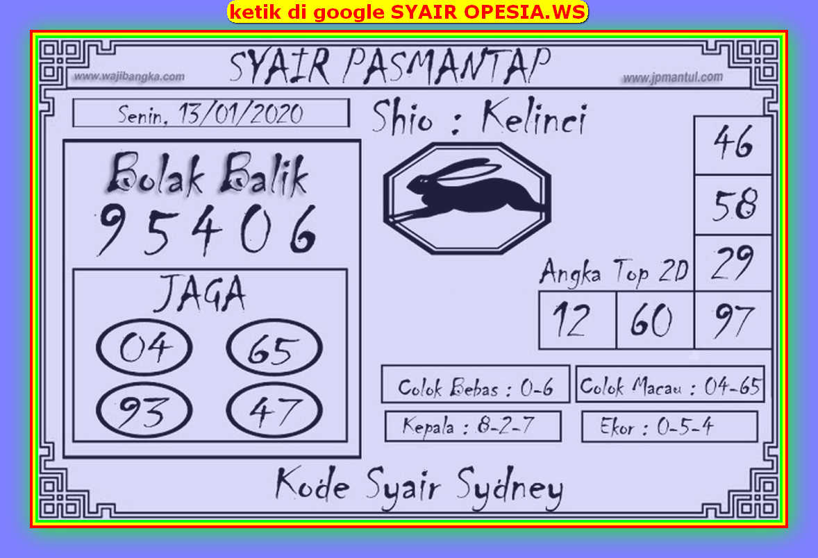 Kode syair Sydney Selasa 14 Januari 2020 128