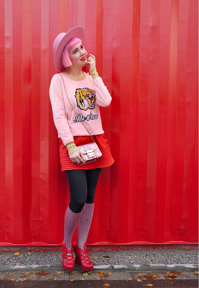 pink hat, red and pink outfit, Furla bag
