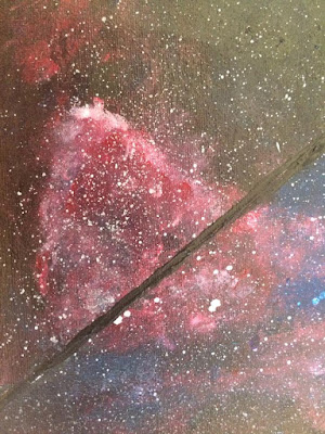 Cosmic Art Detail of Galactic Painting Red Solar Dust Art for Sale