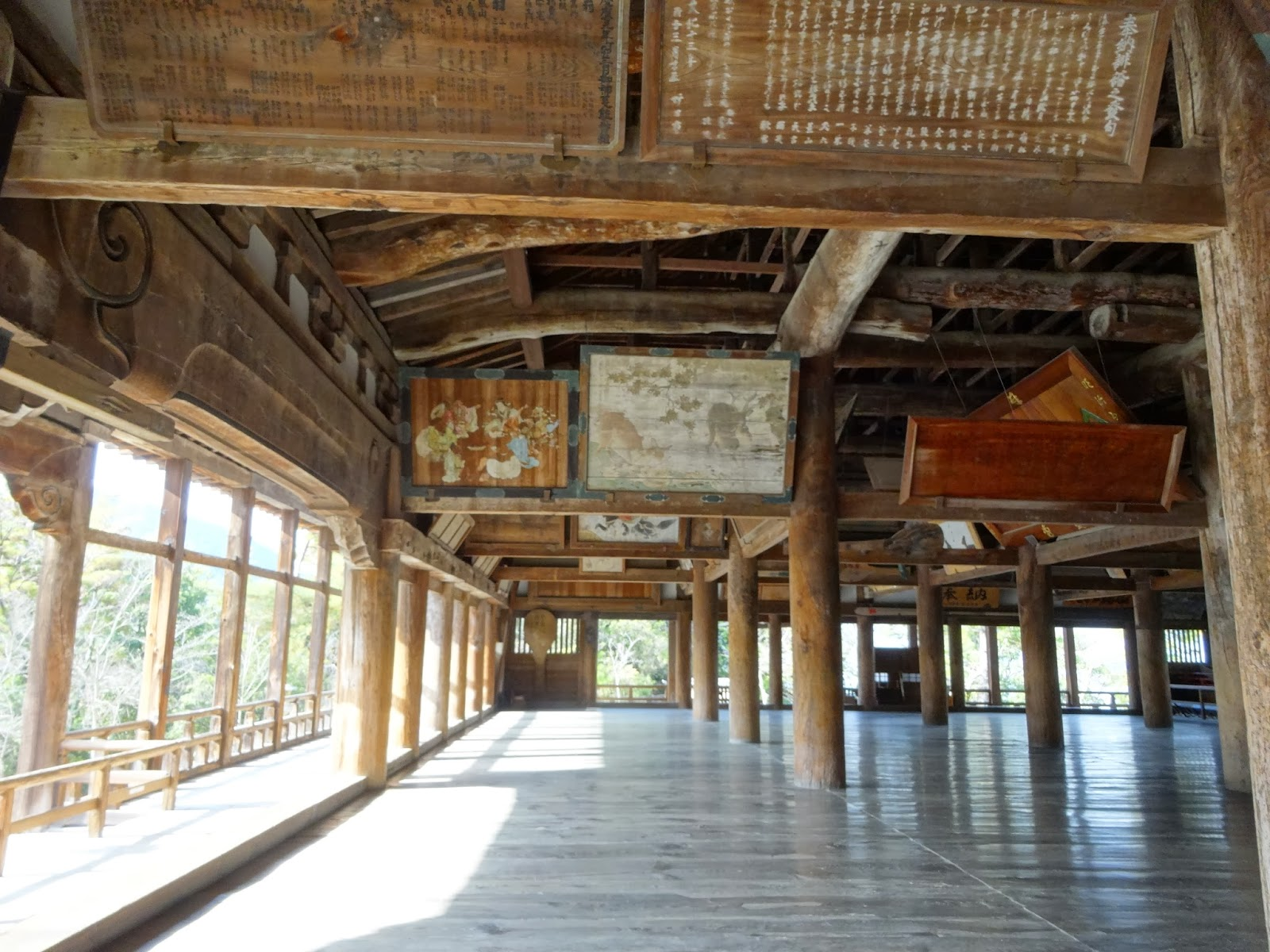 Inside of a temple on Miyajima Island on a sunny day