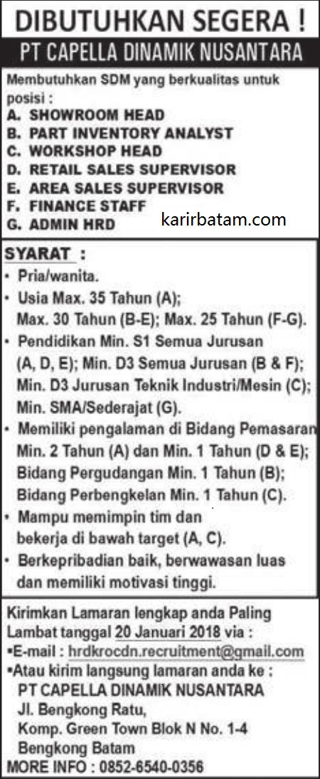 Lowongan Kerja PT. Capella Dinamik Nusantara (Ditutup 20 Januari 2018)
