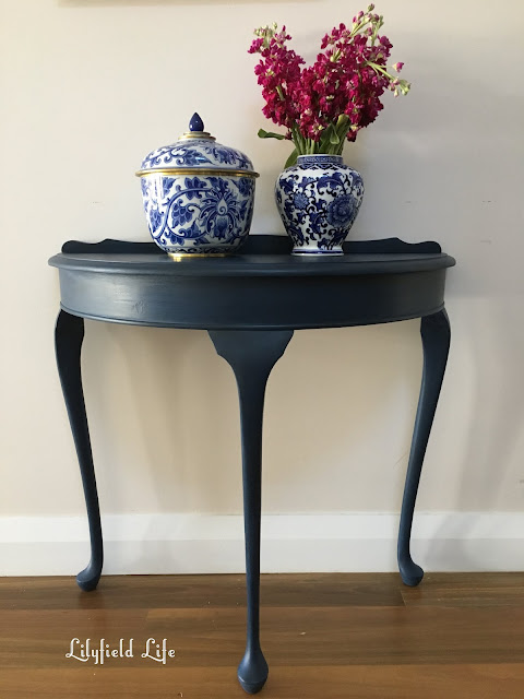 navy hand painted console table Lilyfield life