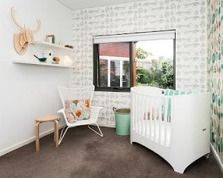 Habitación bebé blanco gris
