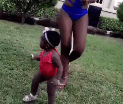 Davido's Daughter Goes Swimming With Her Mom (Photos)