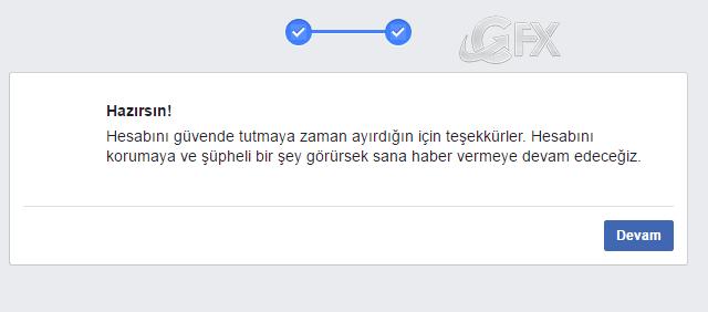 Facebook hesabınız açıldı.
