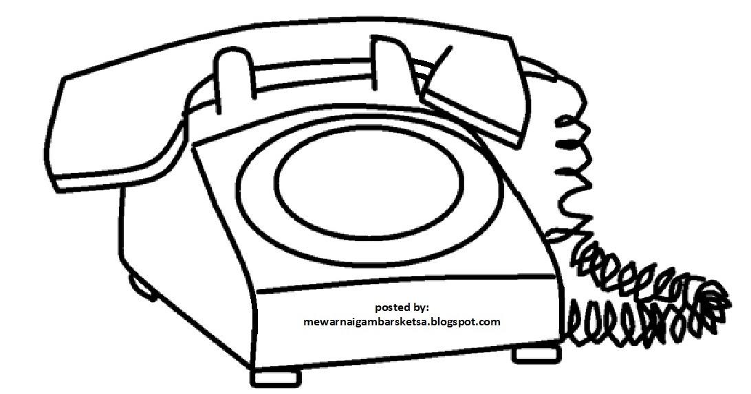 gambar mewarnai alat komunikasi untuk anak tk