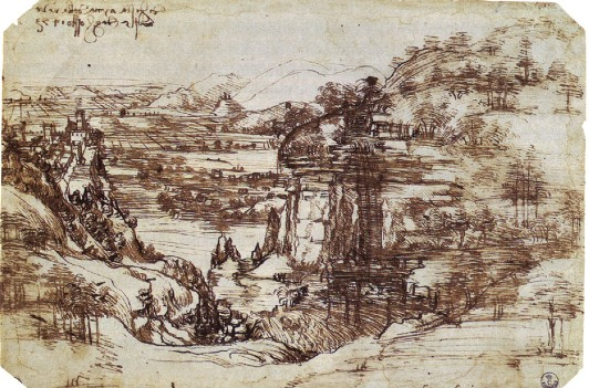 Study of Tuscan landscape (first known drawing by Leonardo, c. 1473)