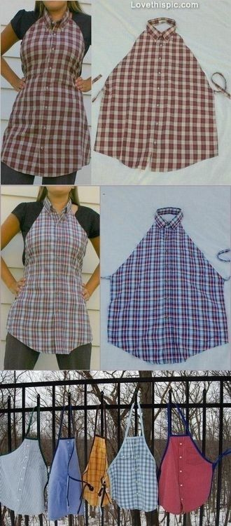 Convert a men's shirt into an apron