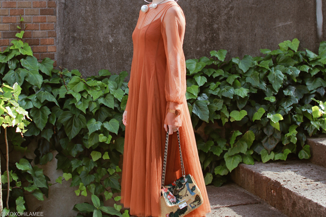 Japanese Fashion Blogger,MizuhoK,20180519OOTD,Chicwish= brown tulle dress,ZARA=belted pink pumps.Embroidery beads bag,Front row shop=big faux pearls neck cuff,NIXON= gold watch